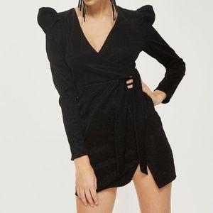 Topshop Tinsel Wrap Dress Puff Shoulder size 4